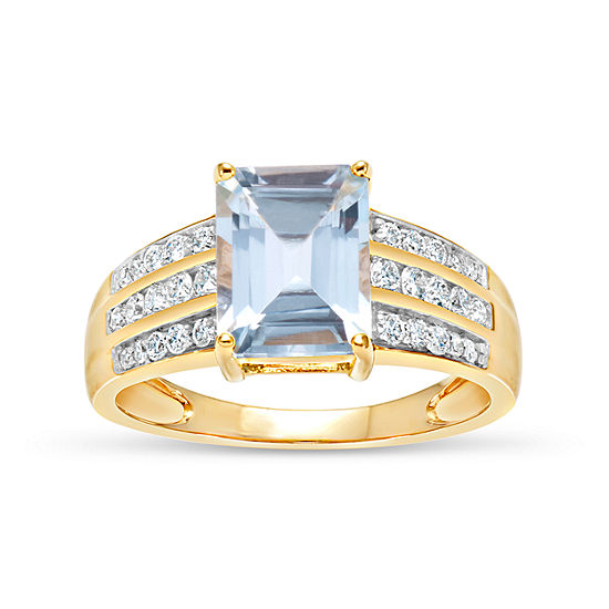 18K Gold over Silver Blue and White Genuine Topaz Ring featuring Swarovski Genuine Gemstones