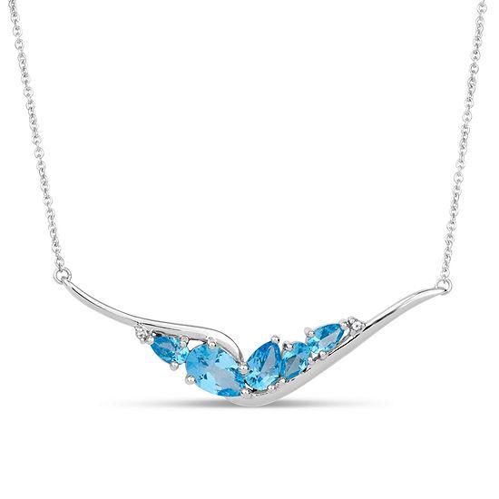 Sterling Silver Blue and White Genuine Topaz Necklace featuring Swarovski Genuine Gemstones