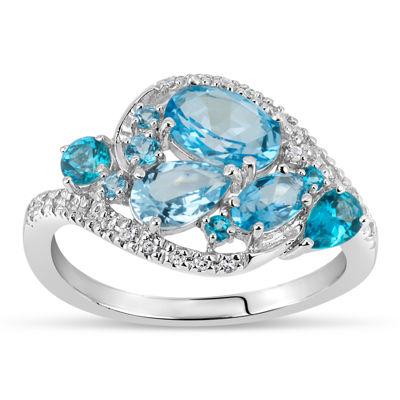 Sterling Silver Blue and White Genuine Topaz Cluster Ring featuring Swarovski Genuine Gemstones