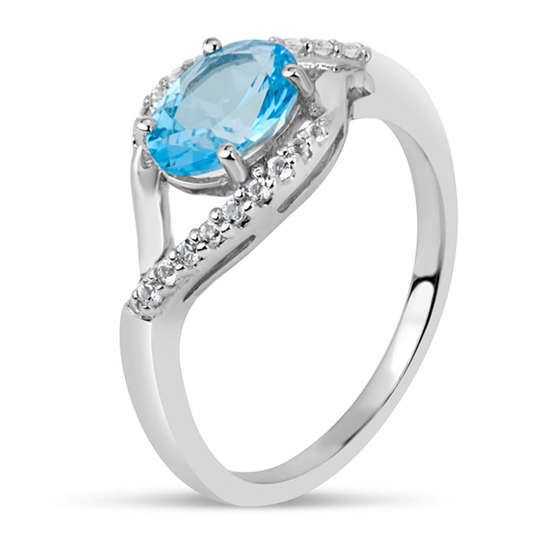 Sterling Silver Blue and White Genuine Topaz Ring featuring Swarovski Genuine Gemstones