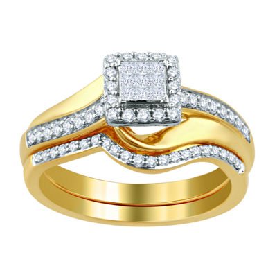 Surrounded by Love Womens 1/2 CT. T.W. Genuine White Diamond 14K Gold Over Silver Bridal Set