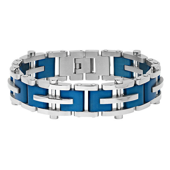Mens 8 1/2 Inch Stainless Steel Blue IP Finish Cross and Bar Link Bracelet