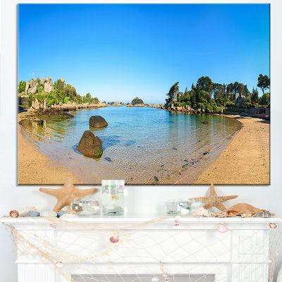 Designart Ploumanach Rocks And Beach Morning Canvas Art