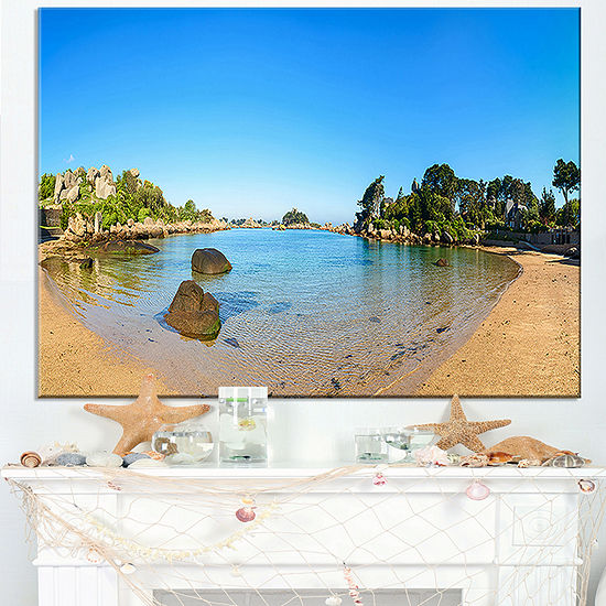 Designart Ploumanach Rocks And Beach Morning Canvas Art