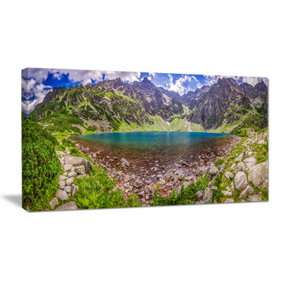 Designart Pond In Middle Of Mountains Panorama Canvas Art