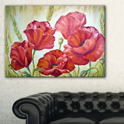 Designart Poppies In Wheat Canvas Art