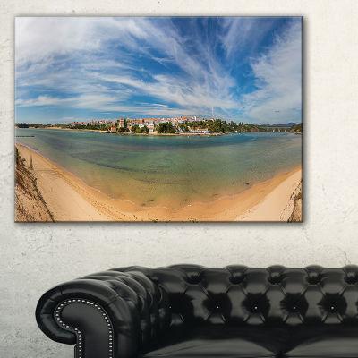 Designart Portuguese Maritime Village Panorama Canvas Art