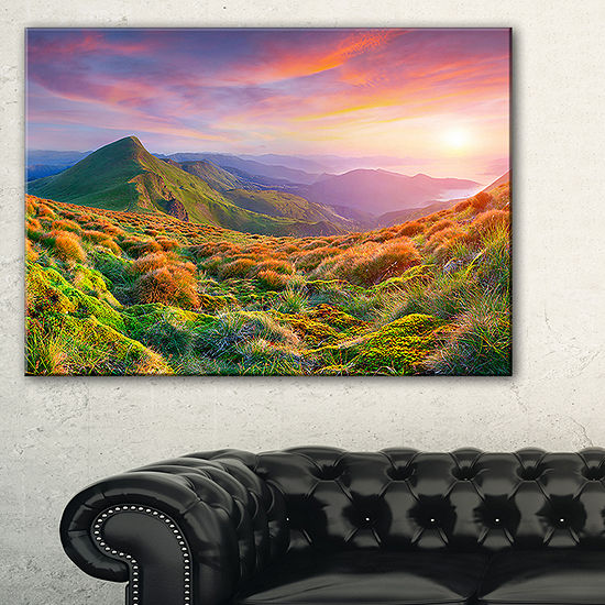Designart Pretty Colorful Sunset In Mountains Canvas Art