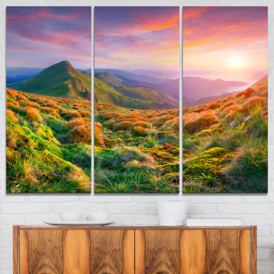 Designart Pretty Colorful Sunset In Mountains 3-pc. Canvas Art