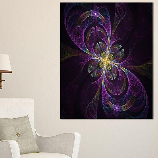 Designart Purple Abstract Floral Shapes Canvas Art