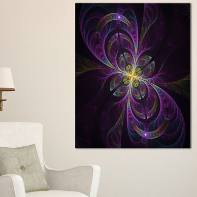 Designart Purple Abstract Floral Shapes Canvas Art