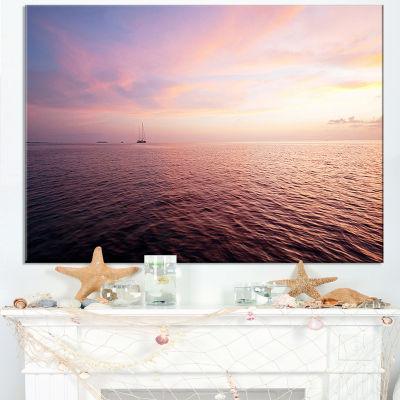 Designart Purple Cloudy Seascape View Canvas Art