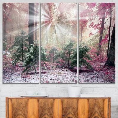 Designart Purple Forest With Sun Rays 3-pc. Canvas Art