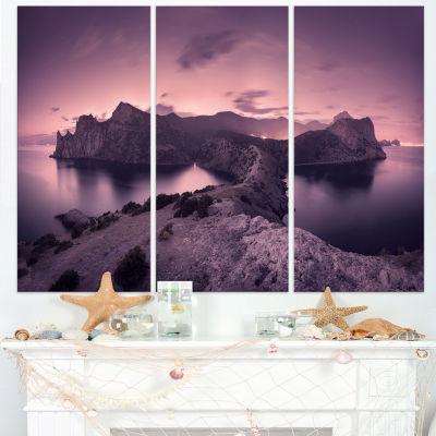 Designart Purple Night Sky At Mountains 3-pc. Canvas Art