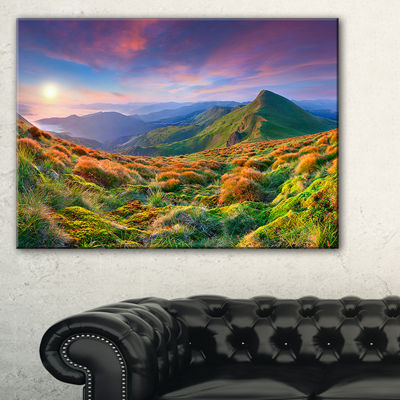 Designart Purple Sky And Green Mountains Canvas Art