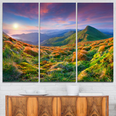 Designart Purple Sky And Green Mountains 3-pc. Canvas Art