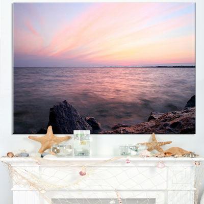 Designart Purple Tinged Evening Seashore Canvas Art
