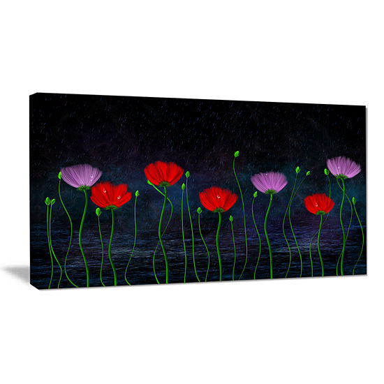 Designart Rain And Flowers With Buds And Drops Canvas Art
