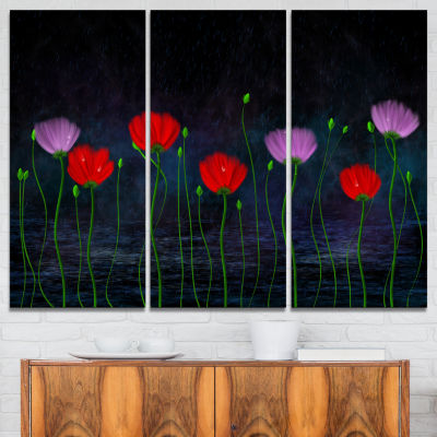 Designart Rain And Flowers With Buds And Drops 3-pc. Canvas Art