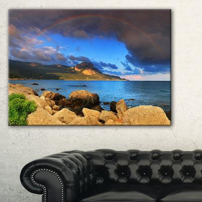 Designart Rainbow Over The Ocean Bay Canvas Art