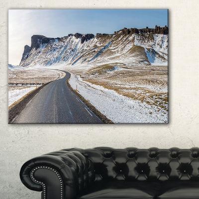 Designart Range Road In Winter Mountains Canvas Art
