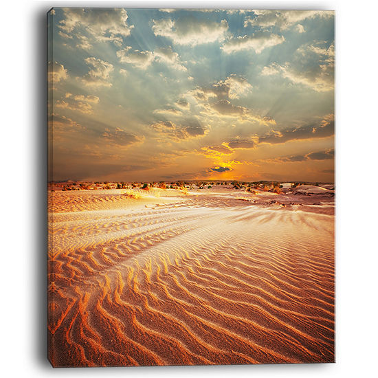 Designart Red Desert Under Blue Cloudy Skies Canvas Art