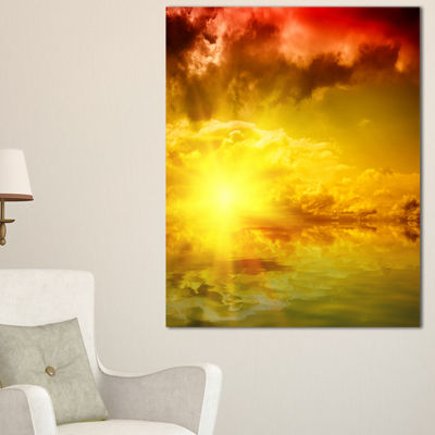 Designart Red Dramatic Sky With Yellow Sun Canvas Art