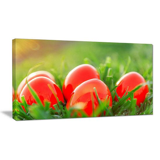 Designart Red Easter Eggs In Green Grass Canvas Art