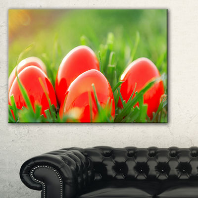 Designart Red Easter Eggs In Green Grass Canvas Art