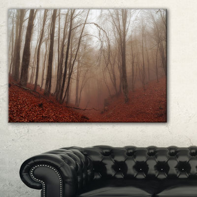 Designart Red Leaves In Foggy Fall Forest Canvas Art