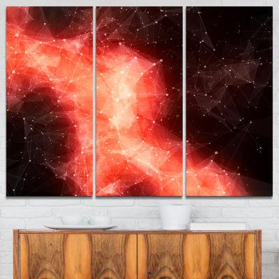 Designart Red Nebula In Cosmos 3-pc. Canvas Art