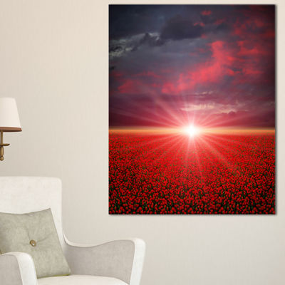 Designart Red Poppies Field At Sunset Canvas Art
