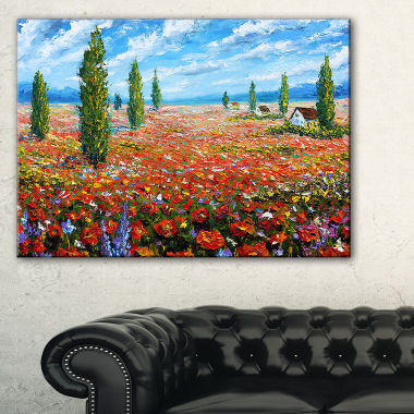 Designart Red Poppies Field Watercolor Canvas Art