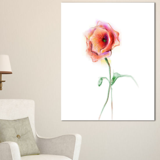 Designart Red Poppy Flower With Green Leaves Canvas Art