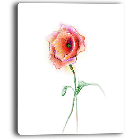 Designart Red Poppy Flower With Green Leaves Canvas Art