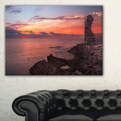 Designart Red Rocky Beach With Ancient Ruins Canvas Art