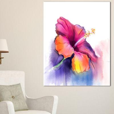Designart Red Yellow Hibiscus Flower In Blue Canvas Art