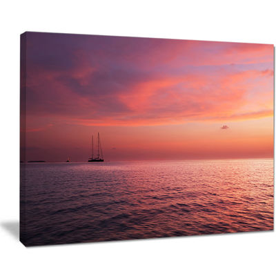 Designart Reddish Serene Maldives Seashore Canvas Art