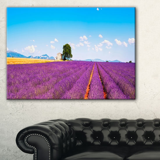 Designart Remote House And Tree In Lavender Field Canvas Art