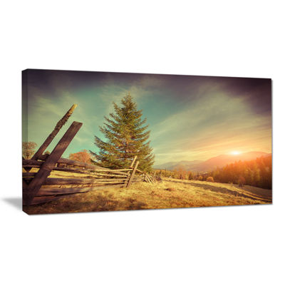 Designart Retro Style Autumn In Mountains Canvas Art