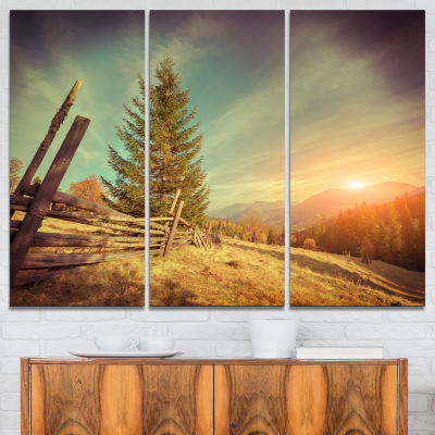 Designart Retro Style Autumn In Mountains 3-pc. Canvas Art