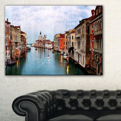 Designart Retro Style Grand Canal At Sunset Canvas Art