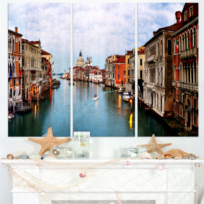 Designart Retro Style Grand Canal At Sunset 3-pc. Canvas Art