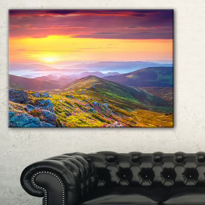 Designart Rhododendron Flowers In Colorful Hills Canvas Art