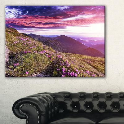Designart Rhododendron Flowers In Hills Canvas Art