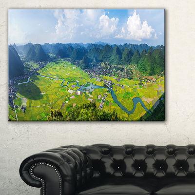 Designart Rice Field Valley Vietnam Panorama Canvas Art