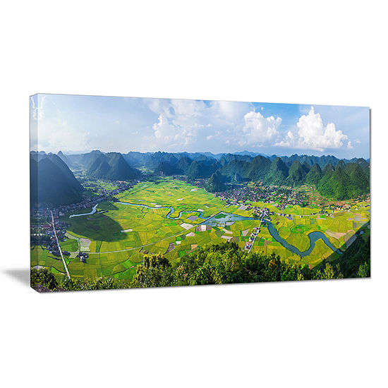 Designart Rice Field Valley Vietnam Panorama Canvas Art