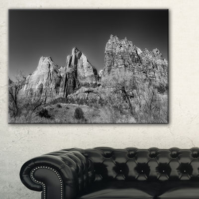Designart Rising Red Rocks Black And White Canvas Art