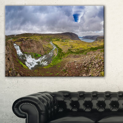 Designart River Leading To Waterfall Iceland Canvas Art