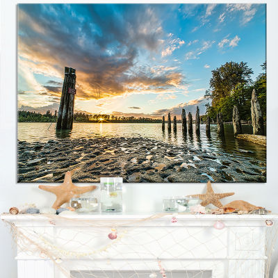 Designart Riverside Sunset With Wood Canvas Art